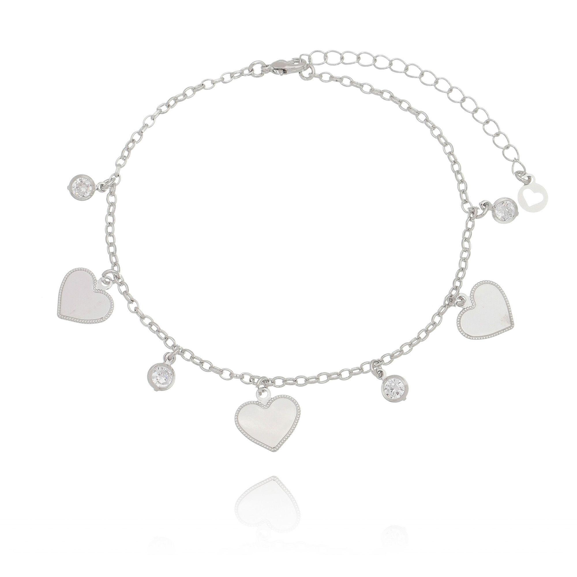 Tornozeleira Coração e Zircônia Cristal em Ródio Branco  - Soloyou