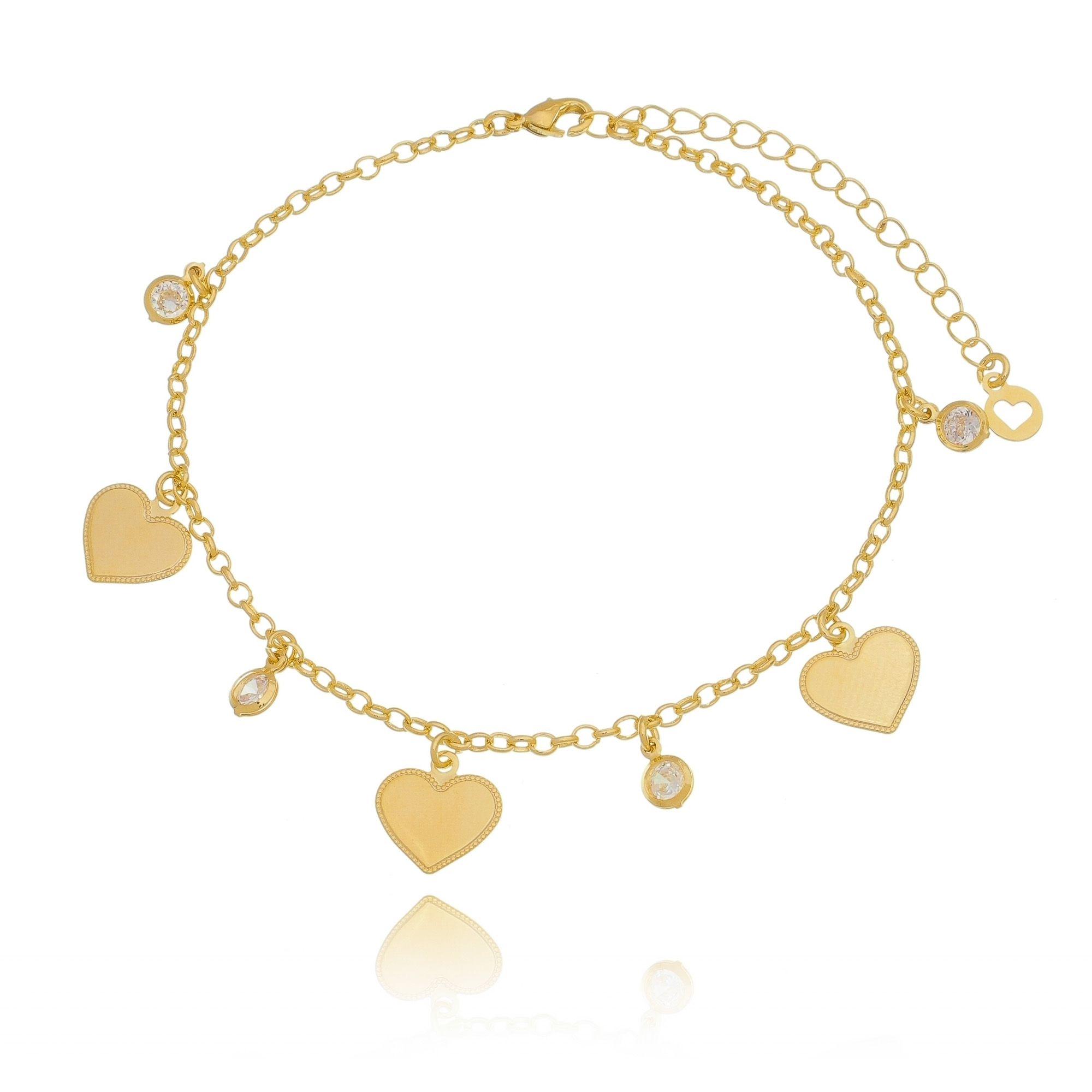 Tornozeleira de Coração com Zircônia Branca em Ouro 18K  - Soloyou