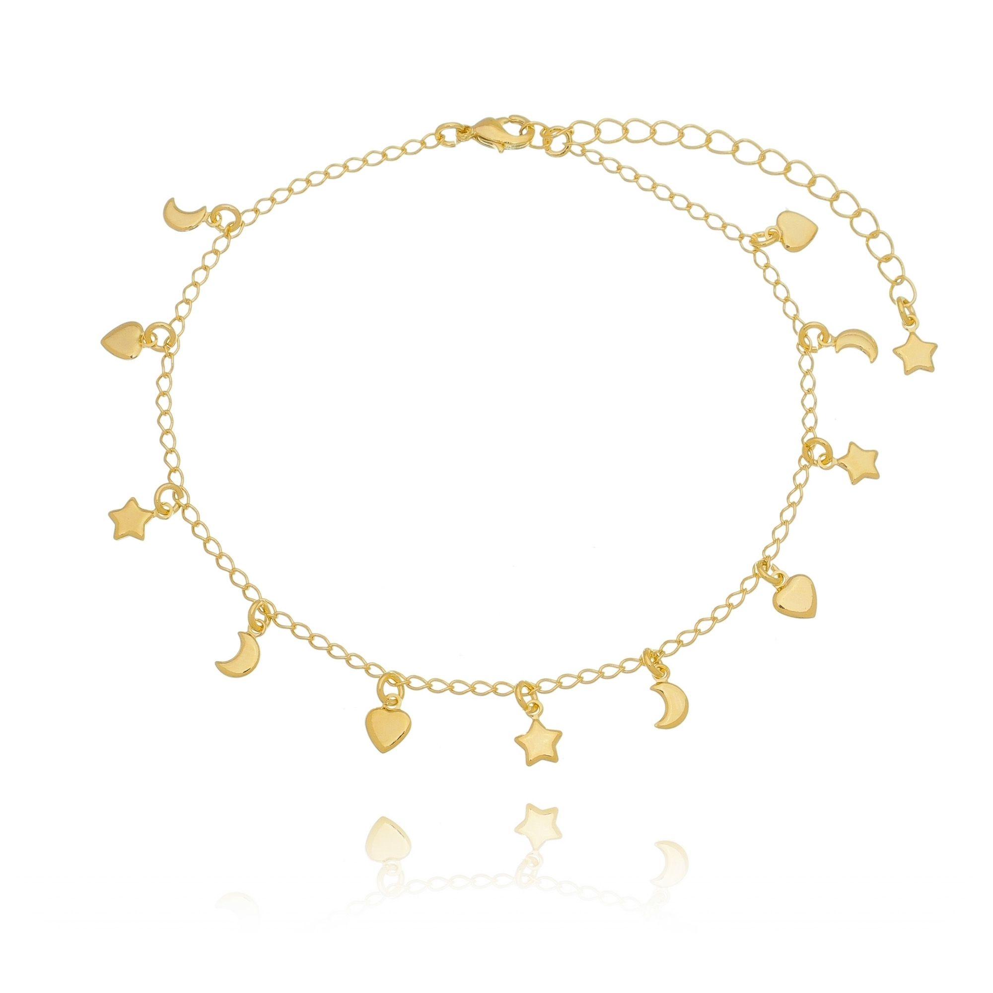 Tornozeleira de Coração, Estrela e Lua Dourada em Ouro 18K  - Soloyou