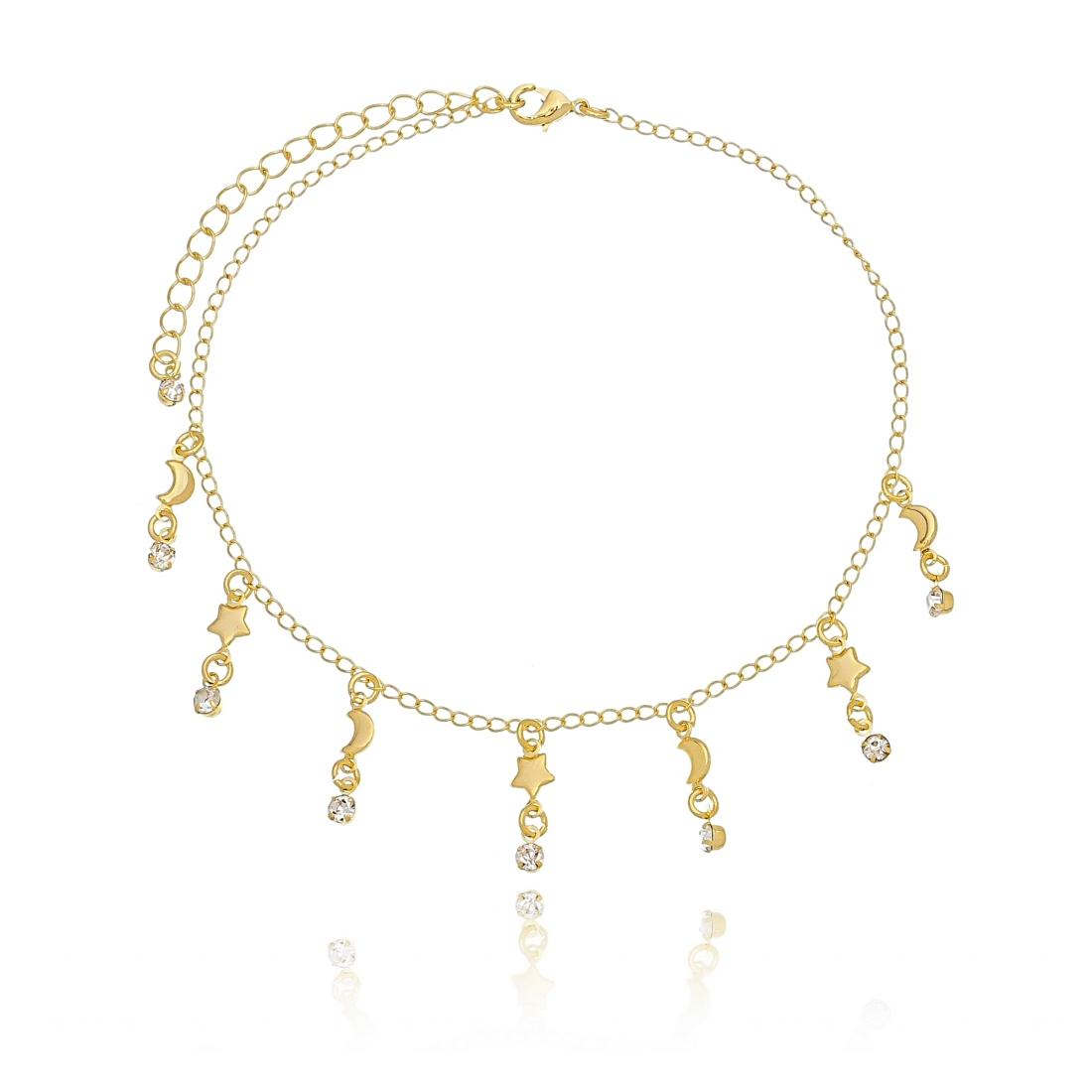 Tornozeleira de Zircônia Branca com Estrelas e Lua em Ouro 18K  - Soloyou