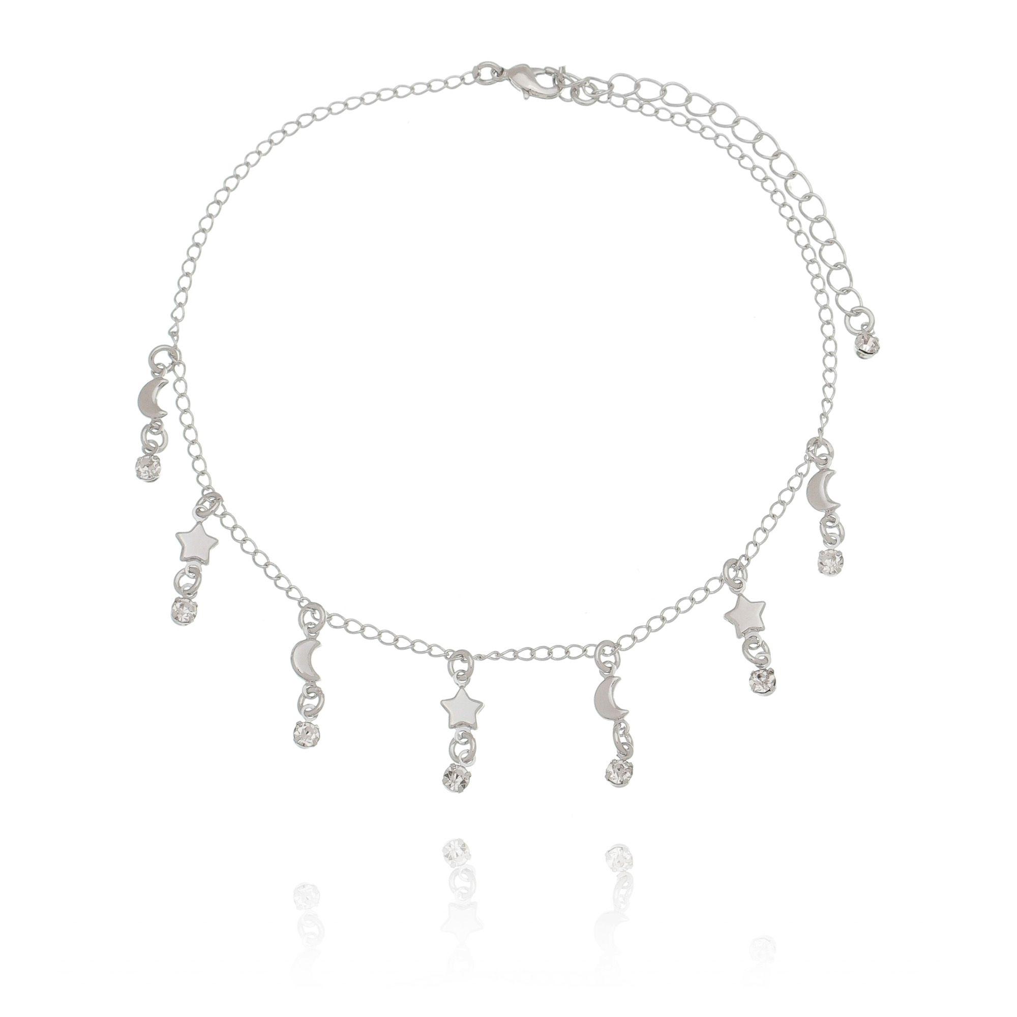 Tornozeleira Verão com Zircônia Cristal em Ródio Branco  - Soloyou