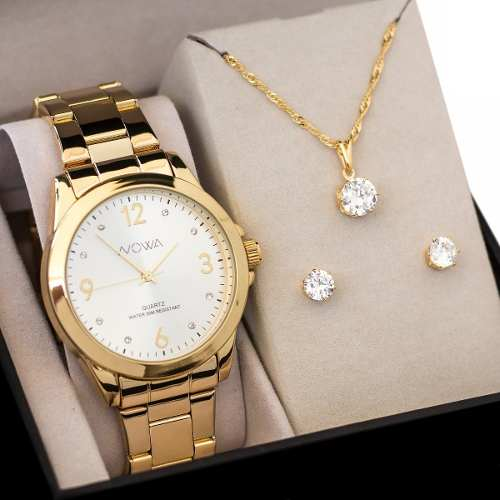 Relógio Nowa Dourado Feminino Nw1026k Kit Brinde