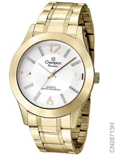 Relógio Champion Feminino Dourado Passion Cn28713h