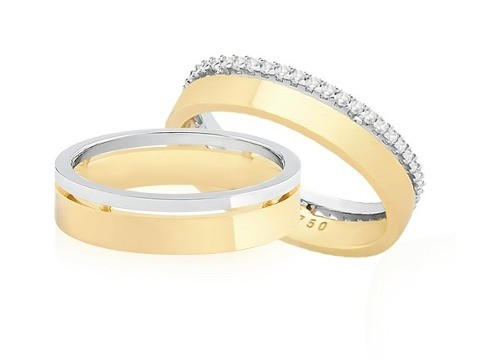 Par Alianças Ouro 18k Casamento Polida Reta Quadrada