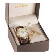 Relógio Champion Feminino Cn20220w - Kit Colar E Brincos