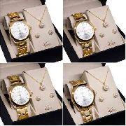 Kit Atacado 4 Relógios Nowa Feminino Dourado + Kits Brinde