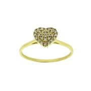 Anel Coração Diamantes Ouro 18K