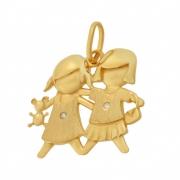 Pingente Meninas Diamantes Ouro 18K