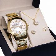 Kit Relógio Champion Feminino Dourado Cn29418h Colar Brincos Luz