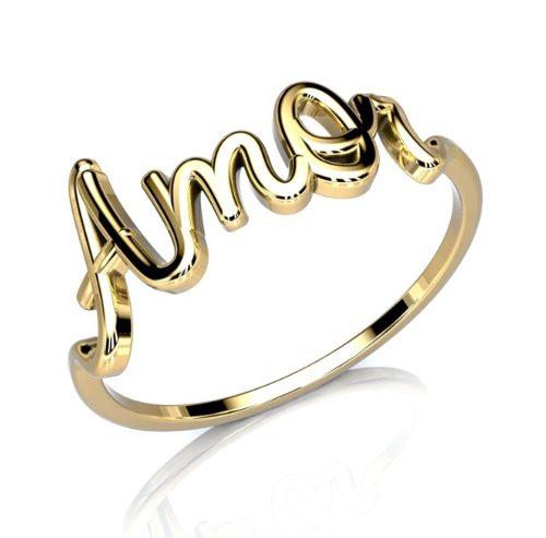 Anel Nome/Frase Personalizado Em Ouro 18k 750