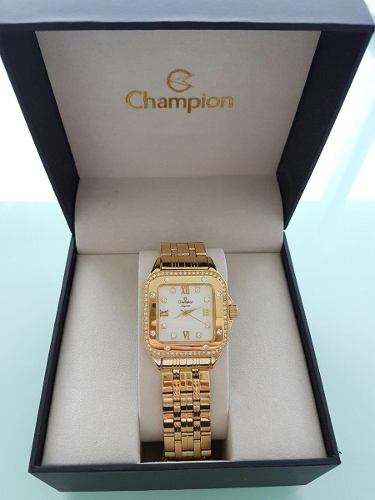 Relógio Feminino Champion Dourado Quadrado Cn27321h