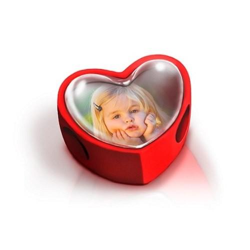 Berloque Personalizado Foto Coração Rosa Acrilico