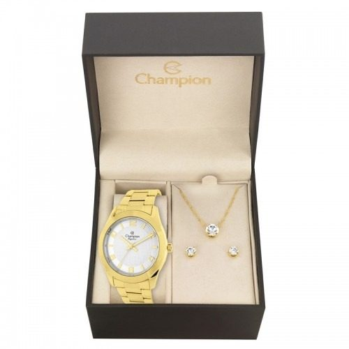 Relógio Champion Feminino Cn26493w - Kit Colar E Brincos
