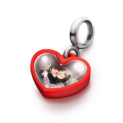 Berloque Personalizado Foto Coração Vermelho Prata e Acrilico