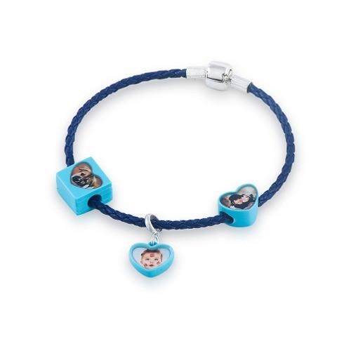 Berloque Coração Acrílico Personalizado - Azul