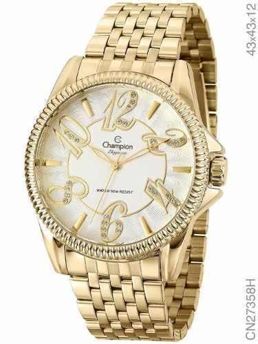 Relógio Champion Feminino Dourado Elegance Cn27358h