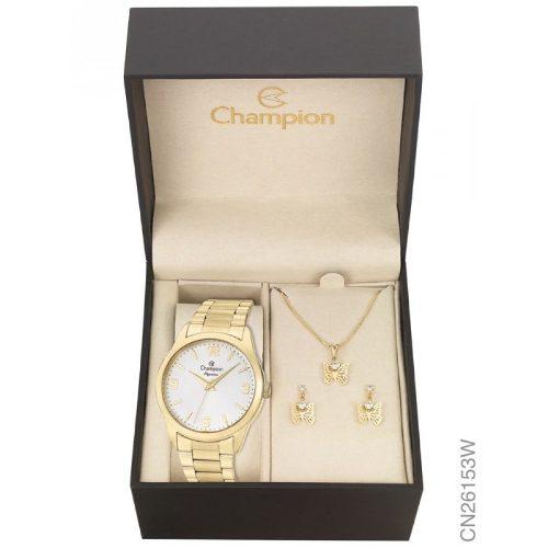 Relógio Champion Feminino Cn26153w - Kit Colar E Brincos