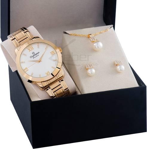 Relógio Champion Feminino Cn25163w - Kit Colar E Brincos