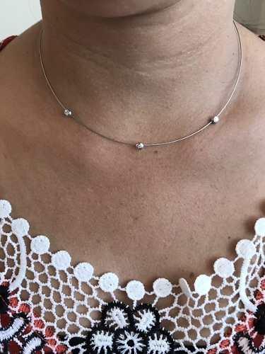 Gargantilha Aro Ouro Branco 3 Diamantes - Ouro 18k 750