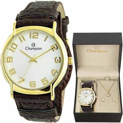 Relógio Champion Feminino Cn20177w - Kit Colar E Brincos
