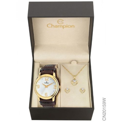 Relógio Champion Feminino Cn20159w - Kit Colar E Brincos