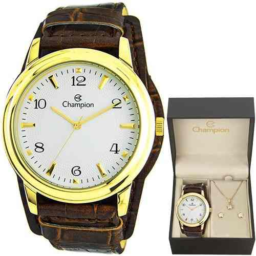 Relógio Champion Feminino Cn20195w - Kit Colar E Brincos