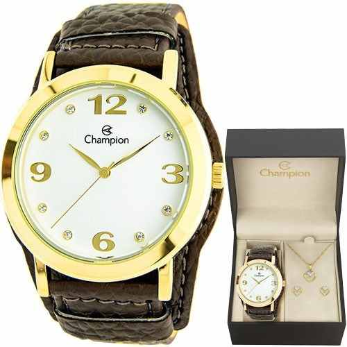 Relógio Champion Feminino Cn20202w - Kit Colar E Brincos