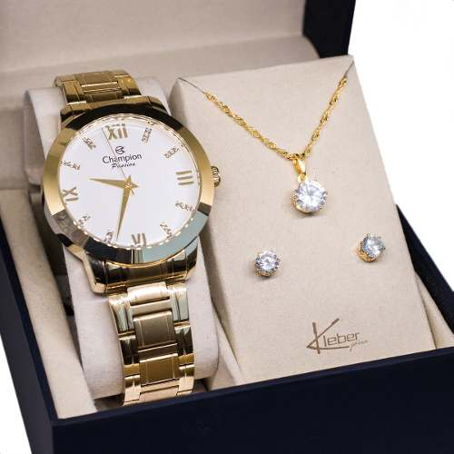 Relógio Champion Feminino Dourado Cn29169h Kit Colar Brinco