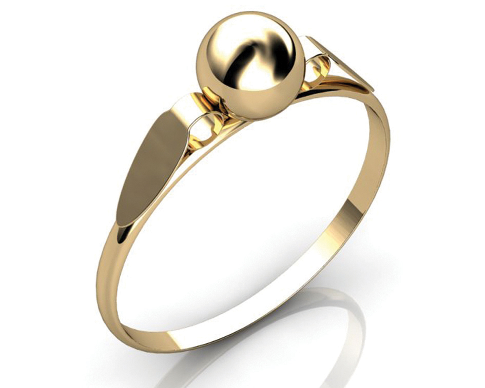 Anel Bola Baby Ouro 18k