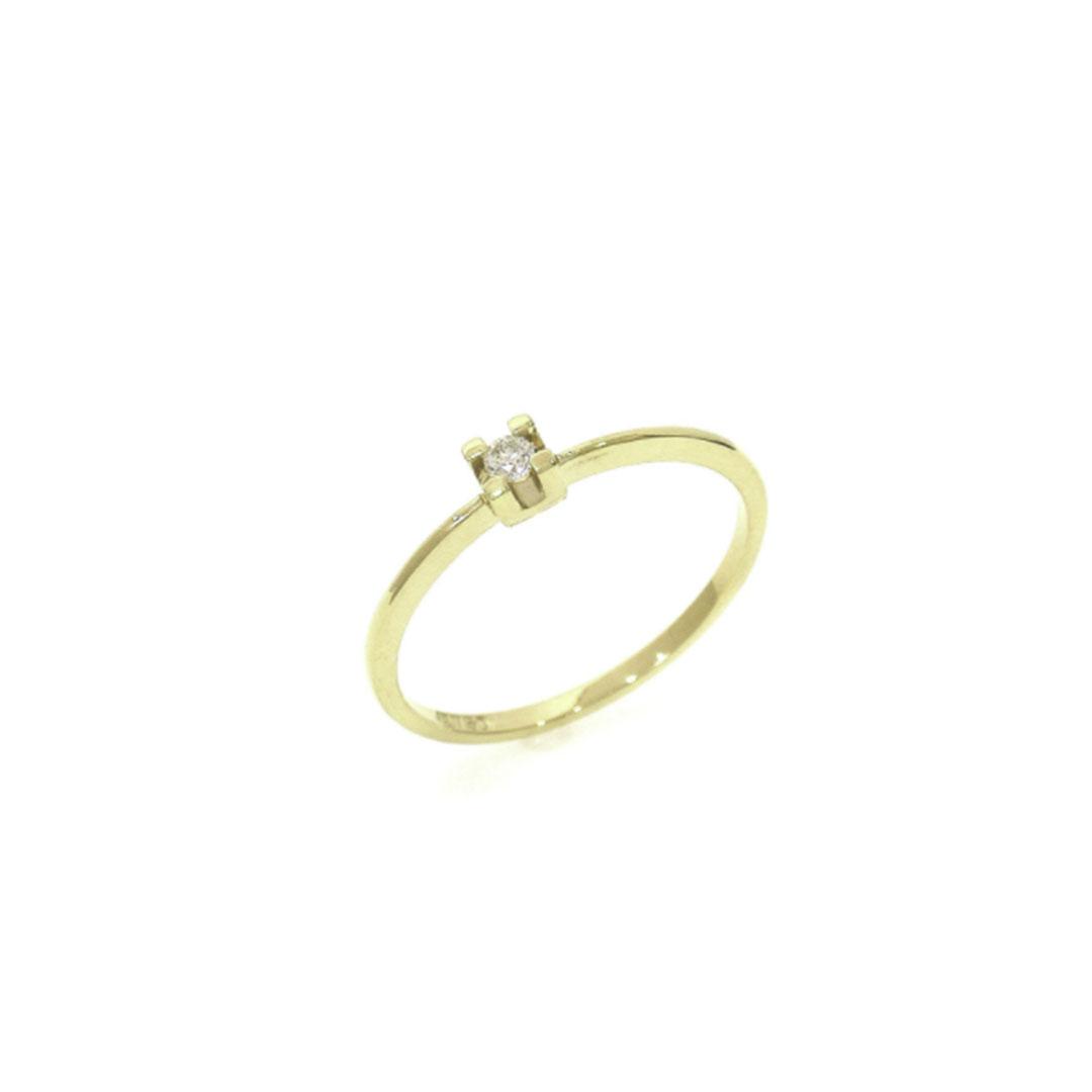Anel Solitário Diamantes 5 Pontos Ouro 18K