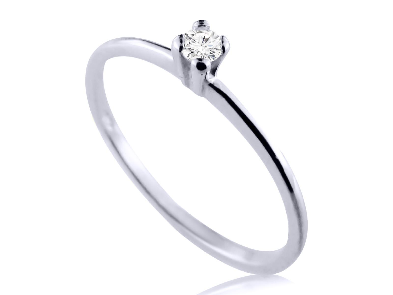 Anel Solitário Prata Com 2 Pontos de Diamantes