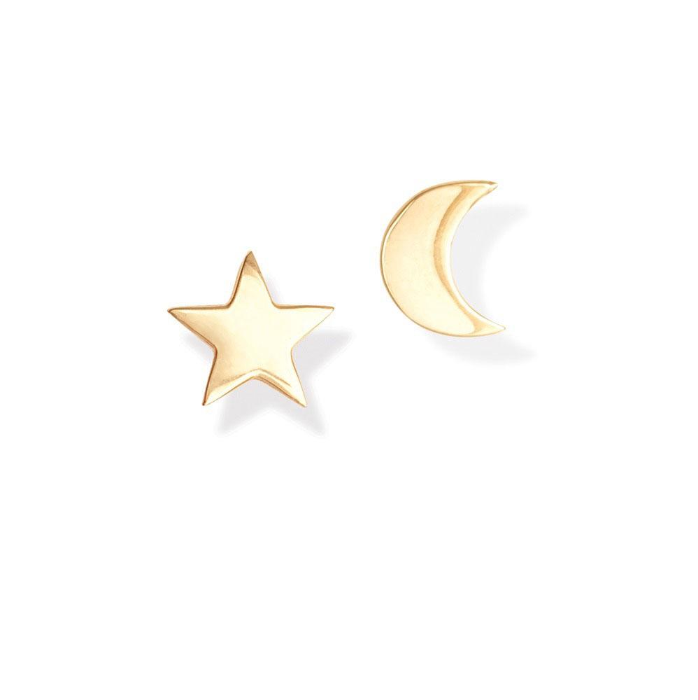 Brinco Estrela Lua Prata