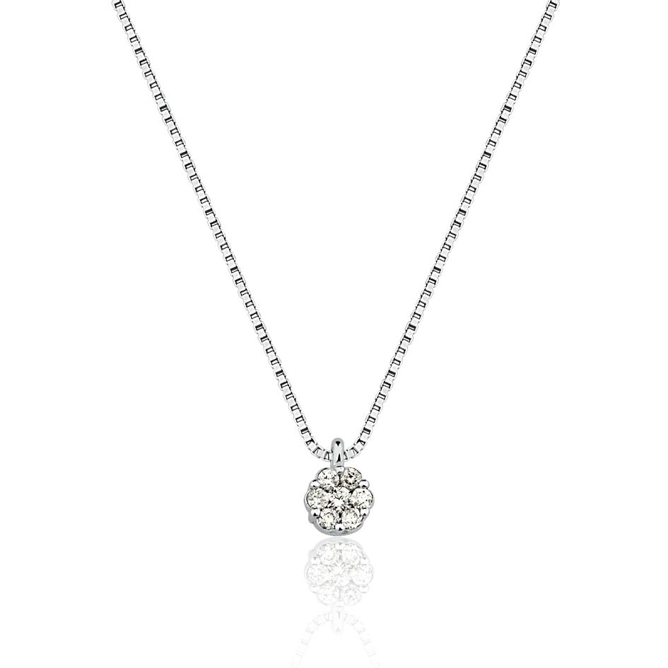 Colar Ponto de Luz em Flor com Diamantes