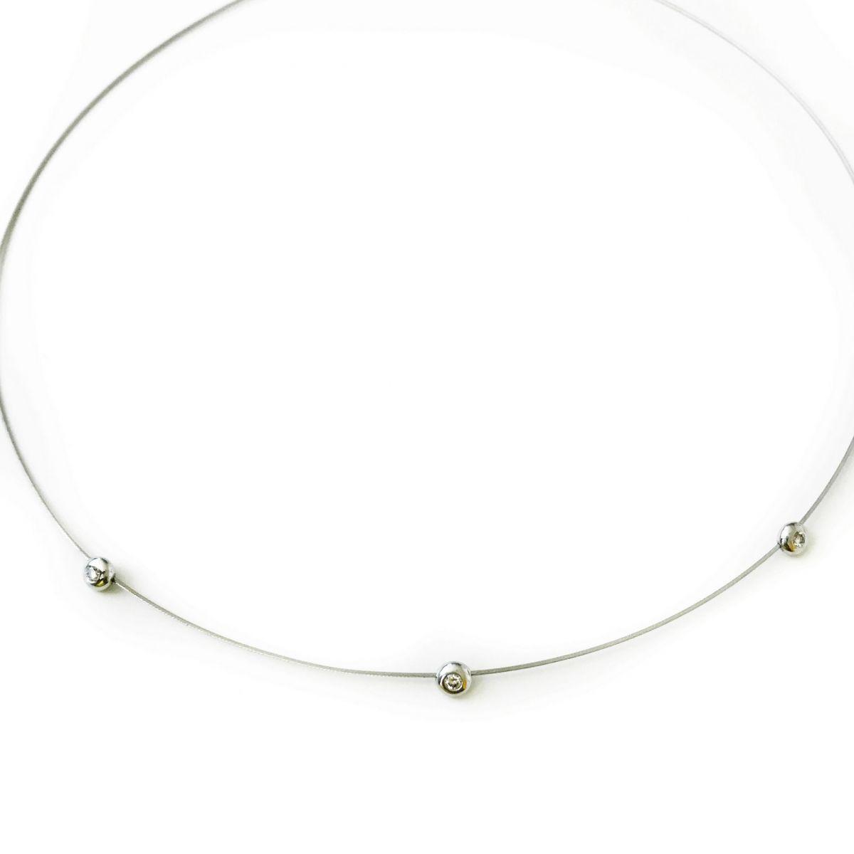 Gargantilha Aro Ouro 18k Branco com 3 Diamantes