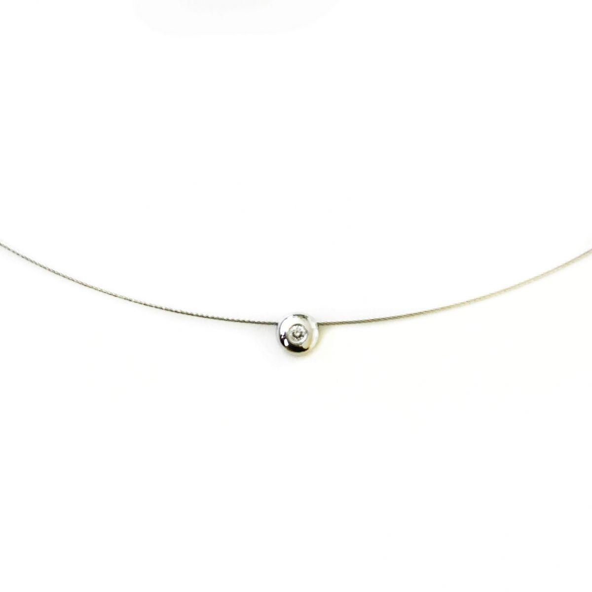 Gargantilha Aro Ouro 18k Branco Ponto de Luz Diamante