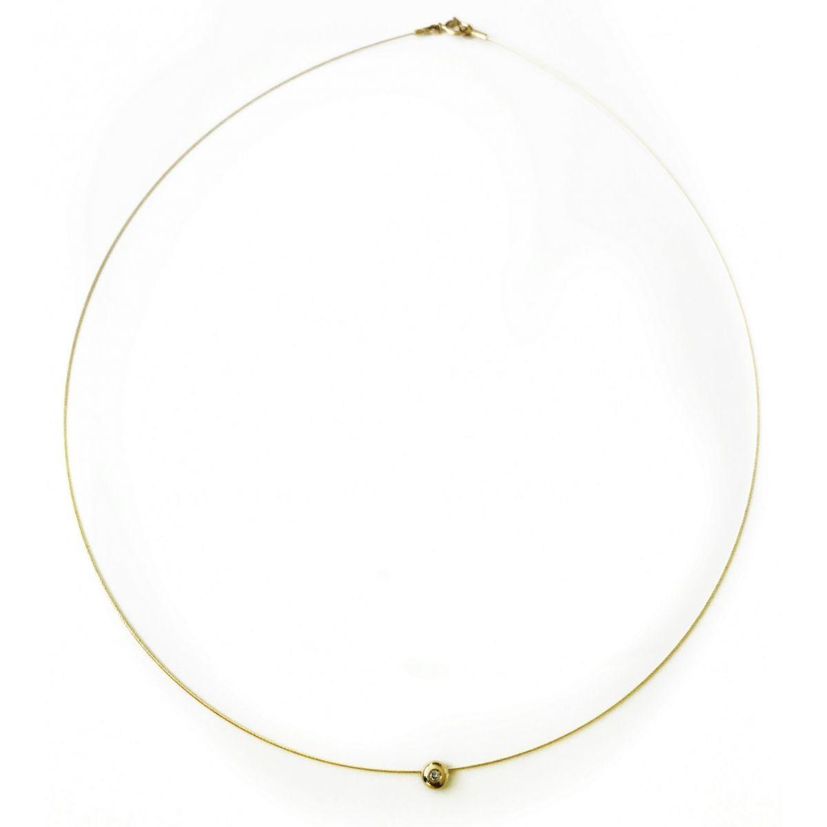 Gargantilha Aro Ouro 18k com Diamante Ponto de Luz