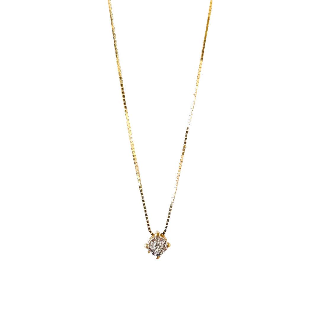 Gargantilha Ponto de Luz Diamante Ouro 18k