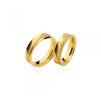 Par de Alianças Ouro 18k Amarelo com Diamantes
