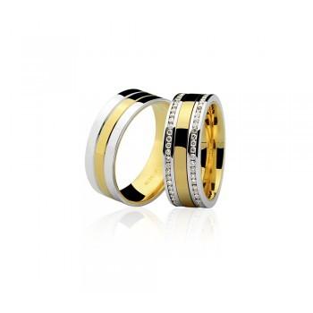 Par de Alianças Ouro 18k Amarelo e Branco com Diamantes