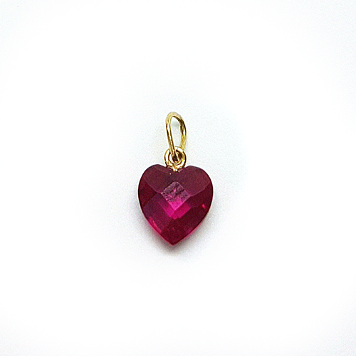 Pingente Coração Zircônia 10mm Ouro 18k - 750