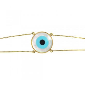 Pulseira Ouro Amarelo Olho Grego