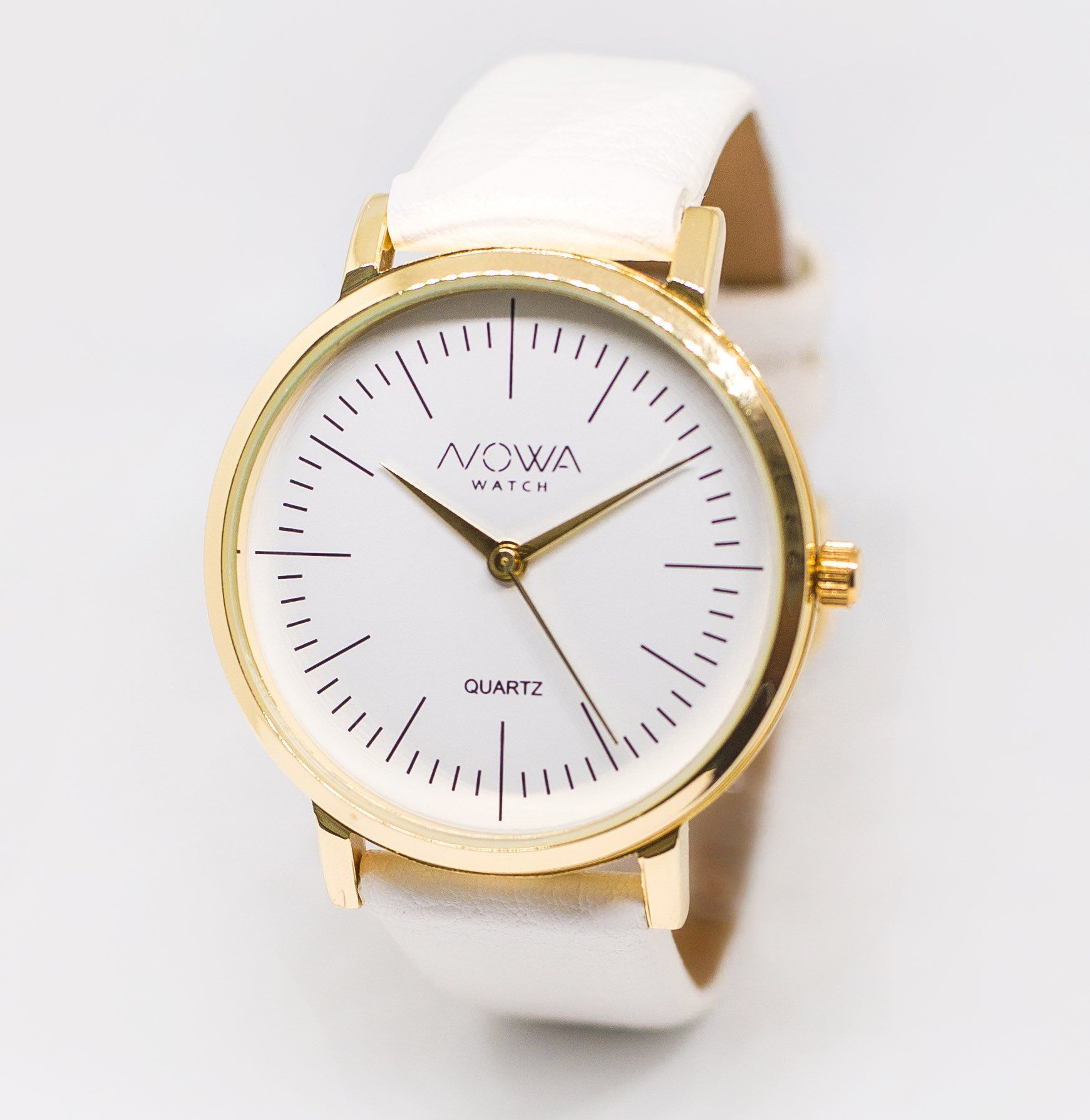 Relógio Nowa Feminino Dourado Couro Branco NW1407K