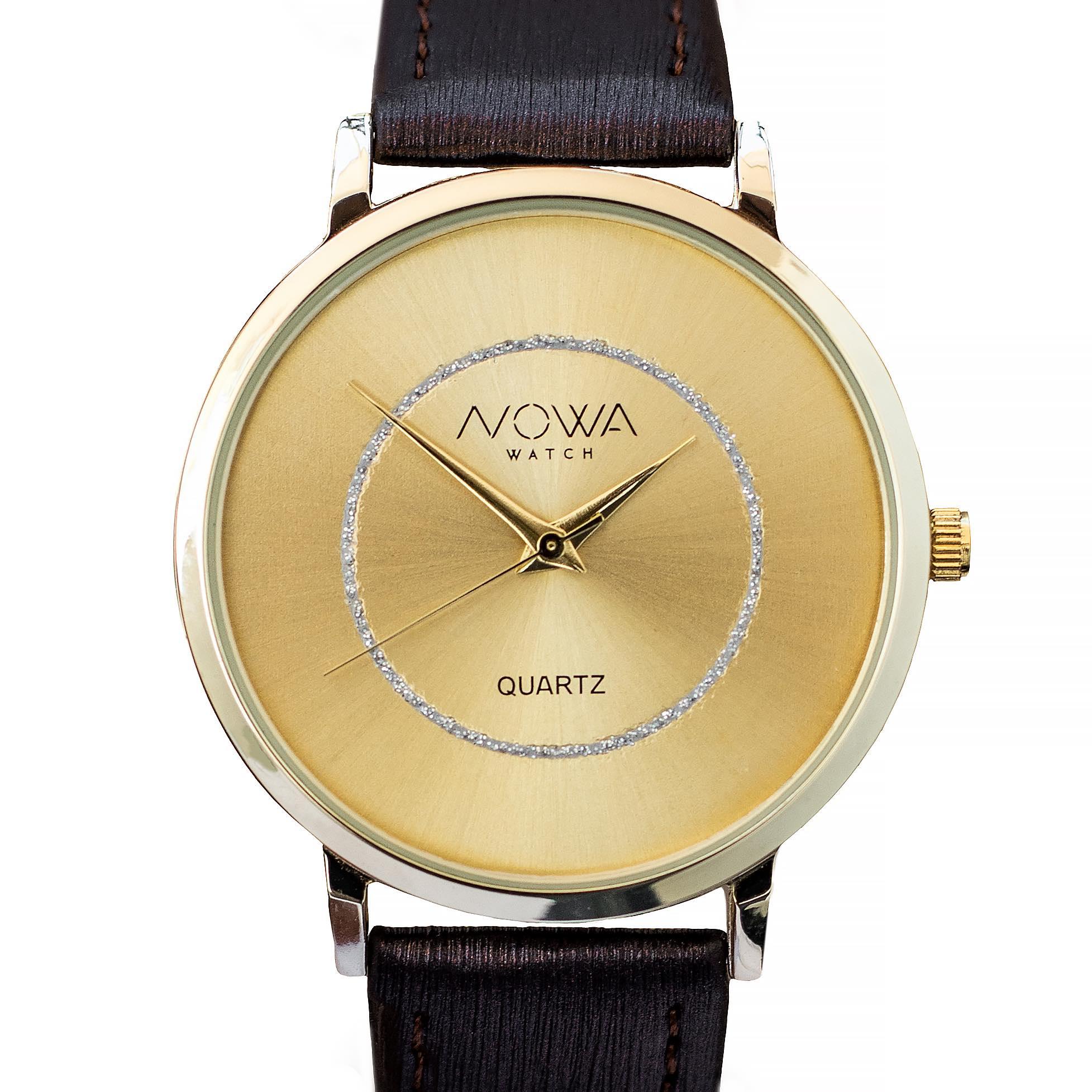 Relógio Nowa Feminino Dourado NW1410K Couro