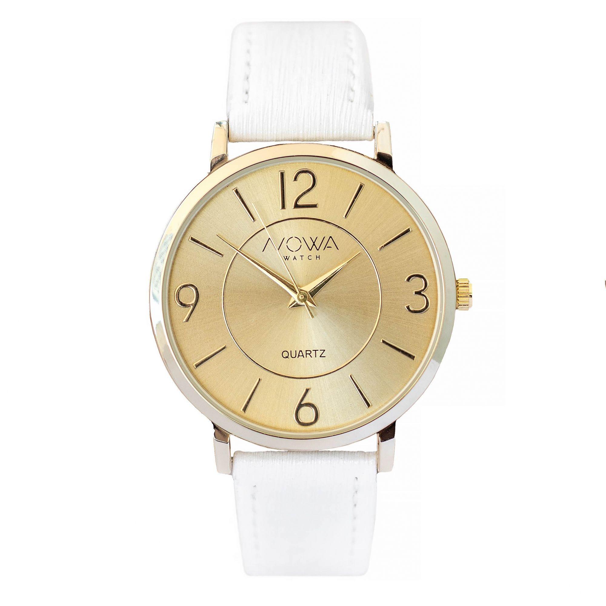 Relógio Nowa Feminino Dourado NW1411K Couro