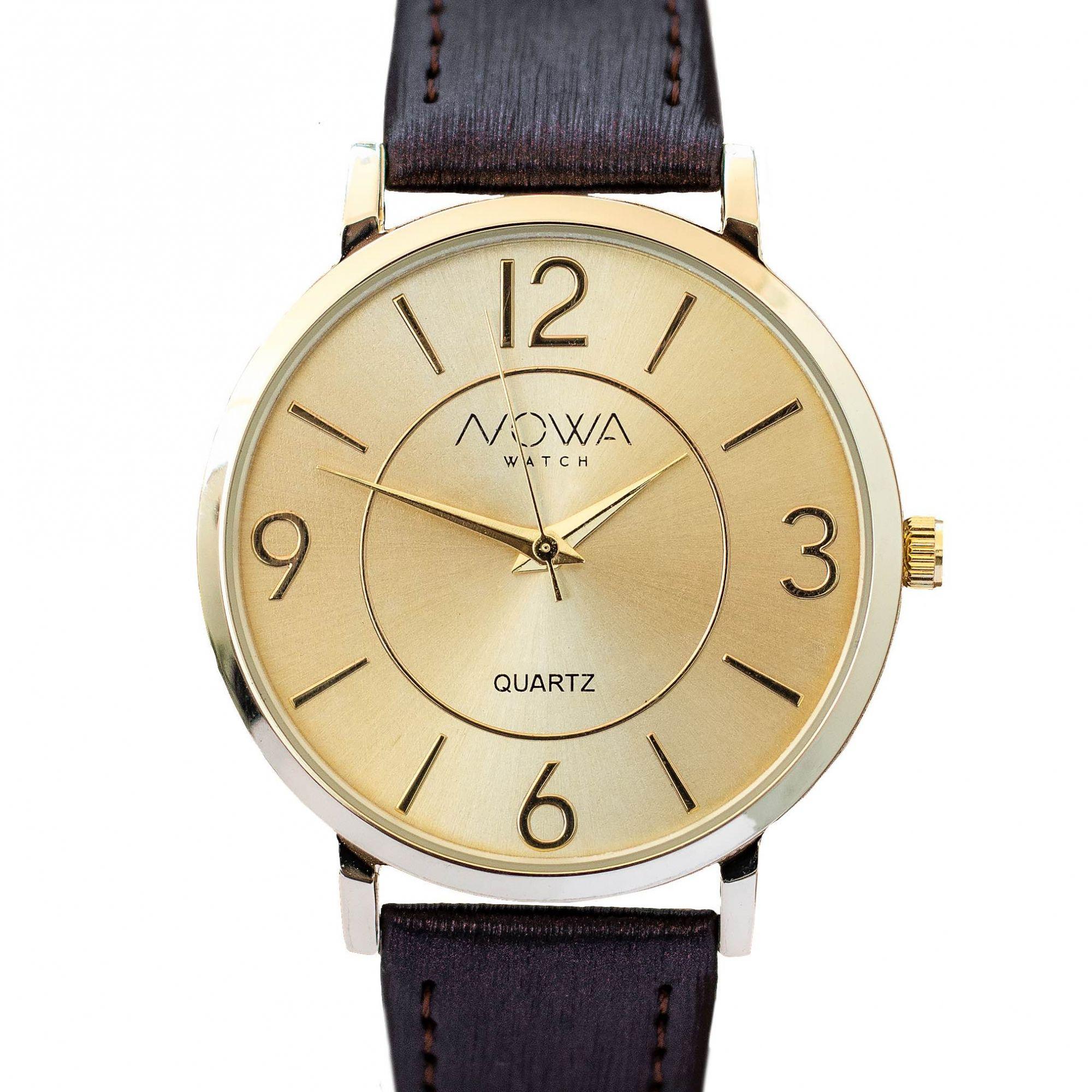 Relógio Nowa Feminino Dourado NW1413K Couro