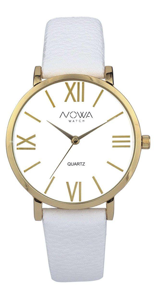 Relógio Nowa Feminino Dourado Couro Branco NW1405K