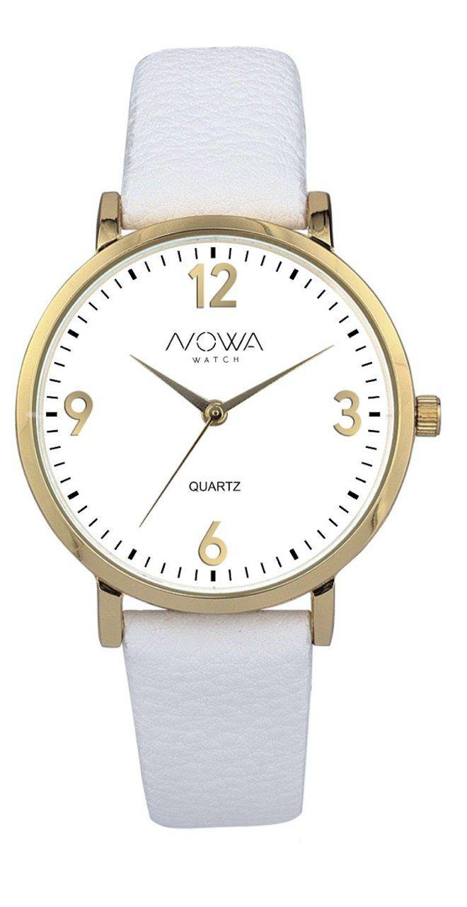Relógio Nowa Feminino Dourado Couro Branco NW1406K