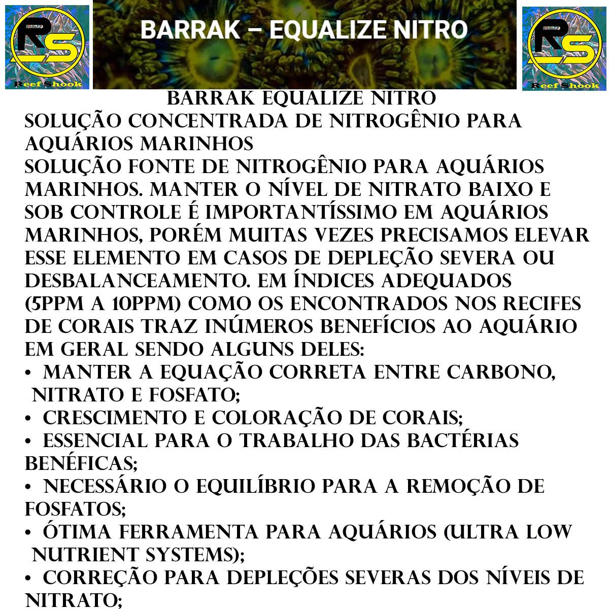 Barrak Equalize Nitro Nitrato para Aquario Marinho
