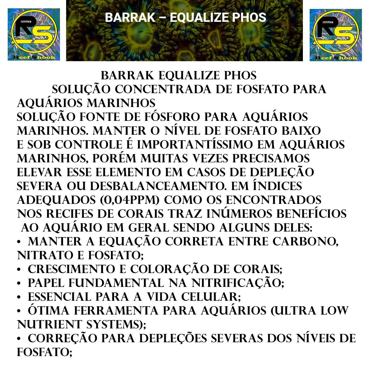 Barrak Equalize Phos Fostato para Aquario Marinho