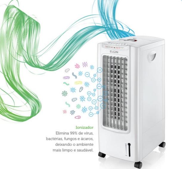 Climatizador de Ar Portatil Climatizador e Ionizador Frio Elgin Branco com Controle Remoto 110V